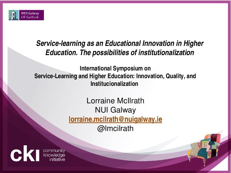 A ApS como innovación educativa na aprendizaxe universitaria. As posibilidades da institucionalización